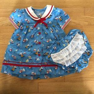 🌿 Handmade Sail Boat Baby Girl Dress with Bloomer